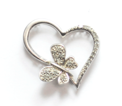 Sterling Silver JTW Diamond Butterfly Heart Halo Slide Pendant 26mm x 24... - $15.83