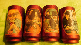 4 Vintage Paintings on Frosted Red Glasses - $40.00