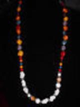 VTG Un-named Artist Made White Milk Glass Art & Faux Stone Beaded Necklace (B) - $9.90