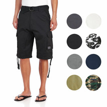 Men's Premium Cotton Twill Slim Fit Cargo Camo Shorts With Woven Belt image 1