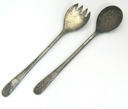 Antique Silver Plate Salad Serving Set Servers Made in Italy Spoon Fork - $12.22