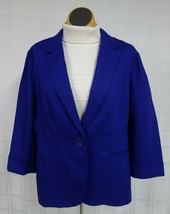 NWT Chico's Single Button Linen Blazer Womens Sz 1 (L?) Blue 3/4 Sleeve ... - $24.25