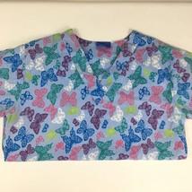 Carol's Scrub Top Blue w/Butterflies size S short sleeve Pockets V-neck - $8.51