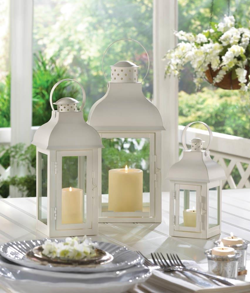 Large Candle Lantern, Glass Gable White Decorative Large Outdoor Lanterns