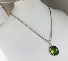 Peridot  Silver Plated Pendant With Chain / Necklace  V-1-119_39 - $8.09