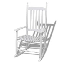 vidaXL Rocking Chair with Curved Wood White Patio Garden Seat Armchair L... - $88.99