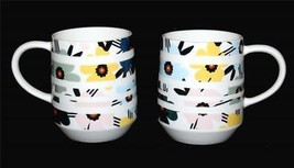 2 Starbucks 2018 White Bands Stripes Teal Yellow Pink Blue Floral 12 Oz ... - £32.99 GBP