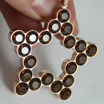 ROSE BRONZE REBECCA NECKLACE BIG STAR WITH BROWN CRYSTAL CT 20.00 MADE IN ITALY image 5