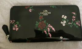 Coach Xstich Flower Print Patent Leather Accordion Zip Wallet F26294 - $105.46