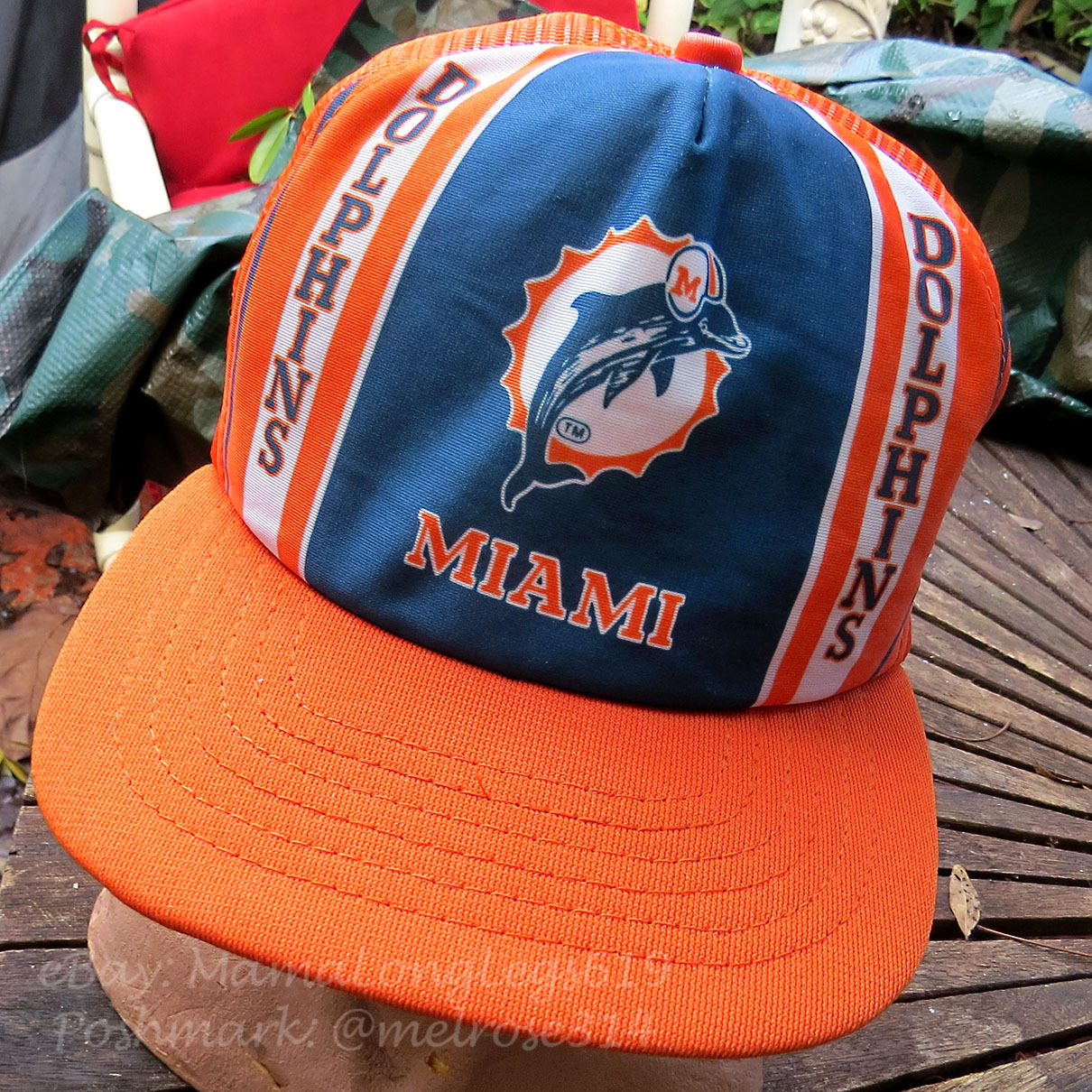 4fe7fe4d Vintage NFL Distressed 1970s Miami Dolphins Mesh Snapback Trucker Hat New  Era