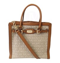 NWT MICHAEL KORS HAMILTON FRAME OUT LARGE NS NORTH SOUTH TOTE FABRIC KHA... - $209.00