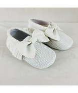 Baby Girls Dress Shoes Soft Sole Sequin Bow Fringe Faux Leather White Si... - $14.50