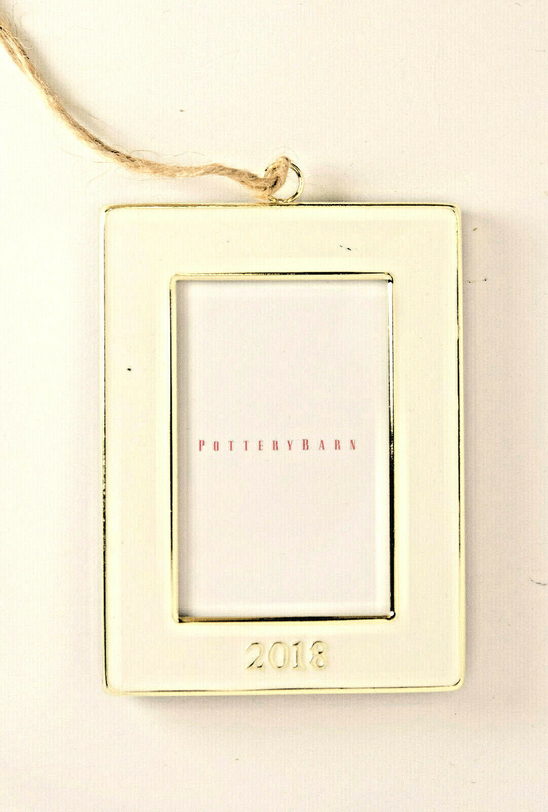 Primary image for Pottery Barn 2018 dated white enamel frame Christmas ornament