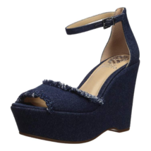 Vince Camuto Women Ankle Strap Sandals Tatchen Size US 8.5M Dark Blue Denim - $49.94