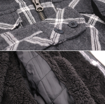 Tony Hawk Men's Casual Flannel Zip Up Plaid Sherpa Hoodie Lightweight Jacket image 7