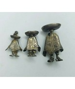 2 Vintage Mexico Sombrero Poncho Man Sterling Silver Pin Pendant JMM Mar... - $74.25