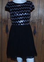 Dress Juniors 5/6 Black Silver Sequins Chevron Cap Sleeves B. Darlin Prom Dance - $42.04
