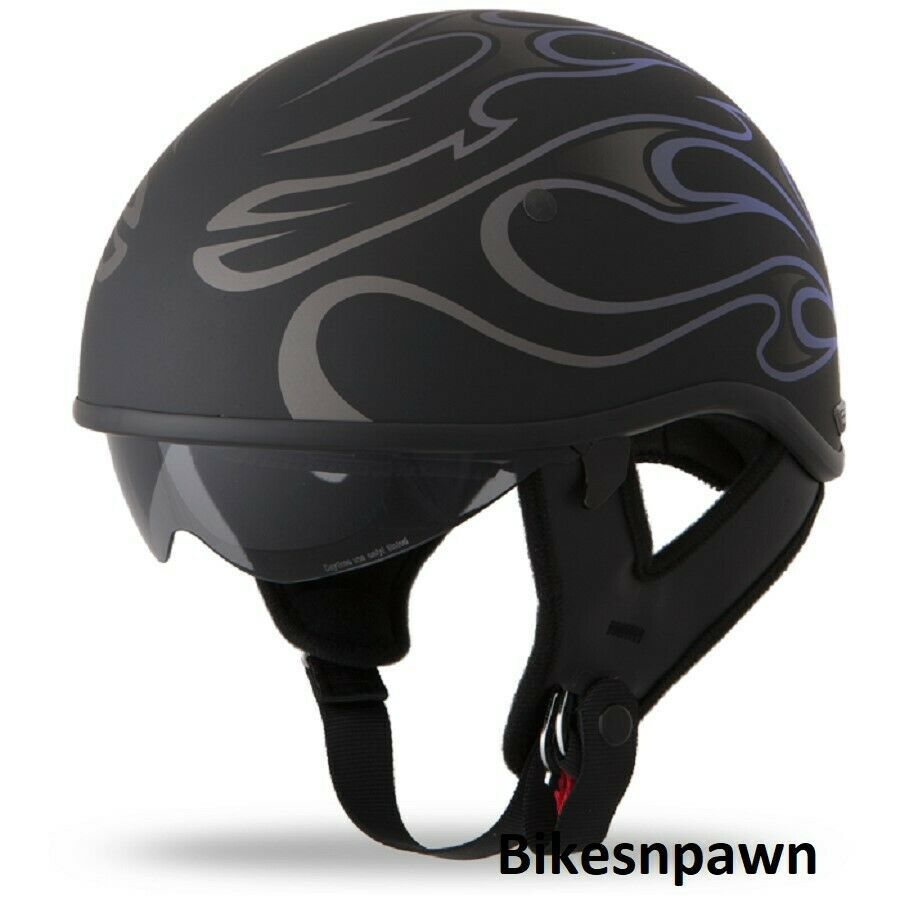 New XL Flat Black/Purple Fly Racing DOT Approved .357 Motorcycle Half Helmet