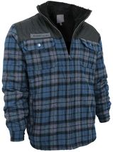 Men's Heavyweight Flannel Zip Up Fleece Lined Plaid Sherpa Hoodie Jacket image 13
