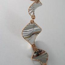 Bracelet White Gold Pink 18K 750, Rhombuses Wavy,Finely Worked, Italy image 3