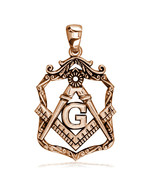 Large Open Masonic Initial G Charm in 18k Pink Gold - $1,155.00