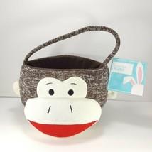 "Brown White Original Sock Monkey Plush Basket Easter Dan Dee NEW 13"" Hal... - $17.81"