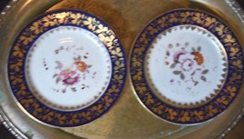 2 Mid 1800's Ed Honore? Old Paris Hand Painted Floral Roses Gilt Luncheo... - $69.99