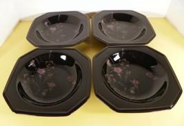 Mikasa EBONY Garden Rim Soup Bowl (s) LOT OF 4 Flowers on Black - $29.65
