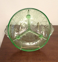 Footed Vaseline Depression GLASS Divided CANDY Serving DISH Nuts RELISH - $29.69