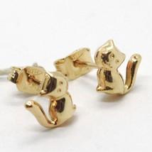Yellow Gold Earrings 18K Lobe, Transparencies, Cats, Kittens - $157.76