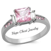 HCJ Stainless Steel Pink Princess Cut 3 Stone CZ Engagement Fashion Ring... - $12.59