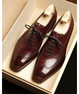 Oxford Wing Tip Medallion Toe Maroon Stylish Genuine Leather Handmade Men Shoes - $99.99 - $139.99