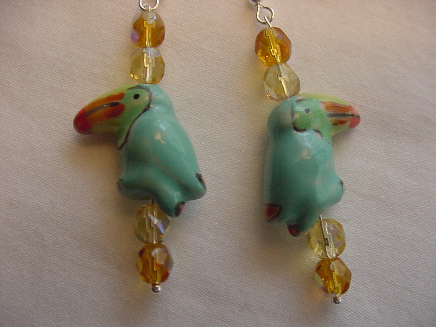 Unique Creations/Ozarks Aqua Toucans Birds Parrots Drop Earrings