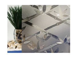 "Tinted Bamboo Flowers Cut Glass Static Cling Window Film, 35"" Wide x 10 ft - $89.60"