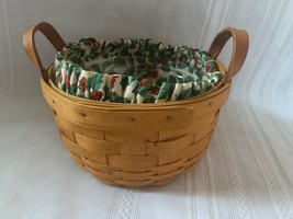 Longaberger 1999 Button Basket Combo Holly Berry Liner Christmas Plastic Protect - $28.04