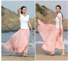 New Women Summer Lady Girl Graceful Elastic Waist Dress Chiffon Long Maxi Skirt - $17.50