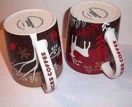 RARE Holiday STARBUCKS Mugs 2 Wolf Reindeer Christmas Gold Red Taiwan Boxes - $89.59