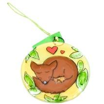 Fused Art Glass Sleeping Cuddling Fox Family Ornament Handmade in Ecuador