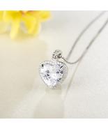 Fashion Women Sterling Silver Zircon Heart Pendant - $15.99