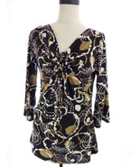 23 RDST Black and Brown Abstract Keyhole Blouse M Top Medium - $14.00