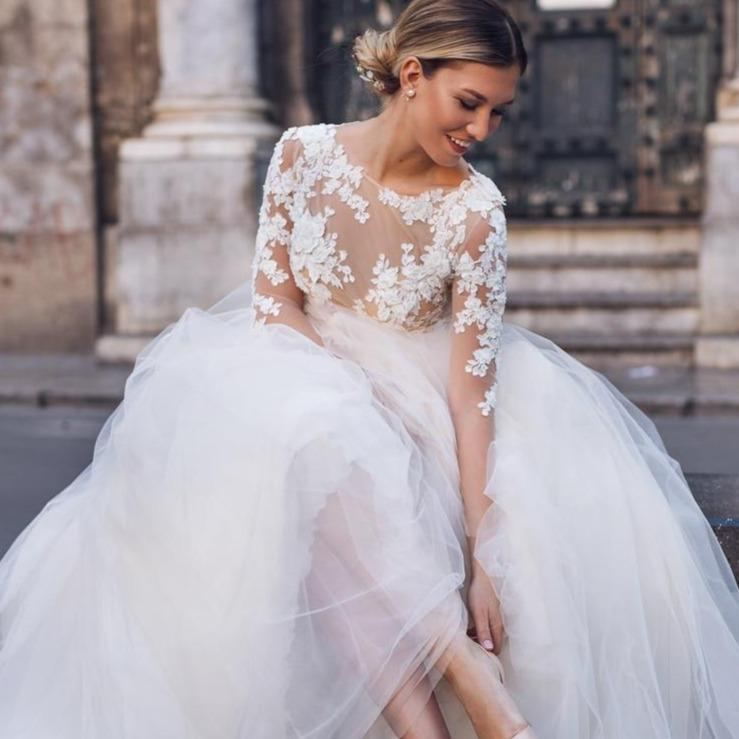 Ion long sleeve lace bridal gown elegant beach wedding gown da4edbf9 e9aa 496a 8934 273410efa71f