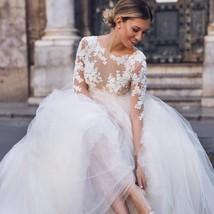New Elegant Lace on Nude Illusion A-line Fashion Wedding Dress