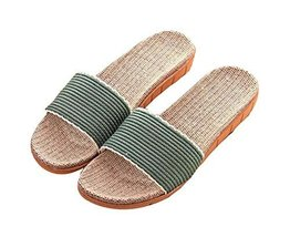 Summer Home Linen Women Cotton Cloth Thick Bottom Cool Slippers, Green - $13.29