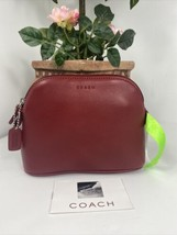 New Coach Cosmetic Bag Red Glove Leather Dome Zip Large M5 - $97.98