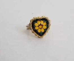 Vintage Italian Flower Mosaic In Heart Shape Adjustable Gold Tone Ring - $20.00