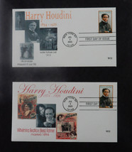 (2) 2002 HARRY HOUDINI MILK CAN ESCAPE  FIRST DAY OF ISSUE ENVELOPE & ST... - $29.65