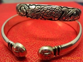Solid Tibetan Delicate Carved Fortunate Word Flying Dragon Amulet Cuff Bracelet - $8.05