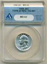 1958 (P) Washington Quarter Type B Reverse UNC MS63 ANACS - $44.10