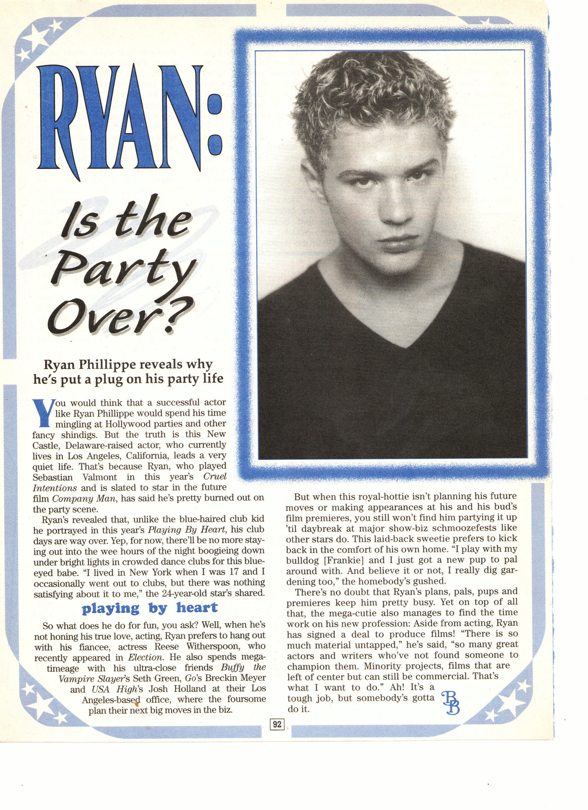 Ryan Phillippe teen magazine pinup clipping is the party over yet Big Bopper Bop