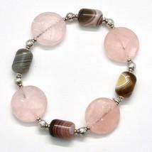 Silber Armband 925 Laminat aus Gold Pink mit Rosenquarz und Chalcedon - $92.47